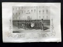Tyrrell Crimea 1858 Antique Military Print. Taking Leave of the Fusilier Guards
